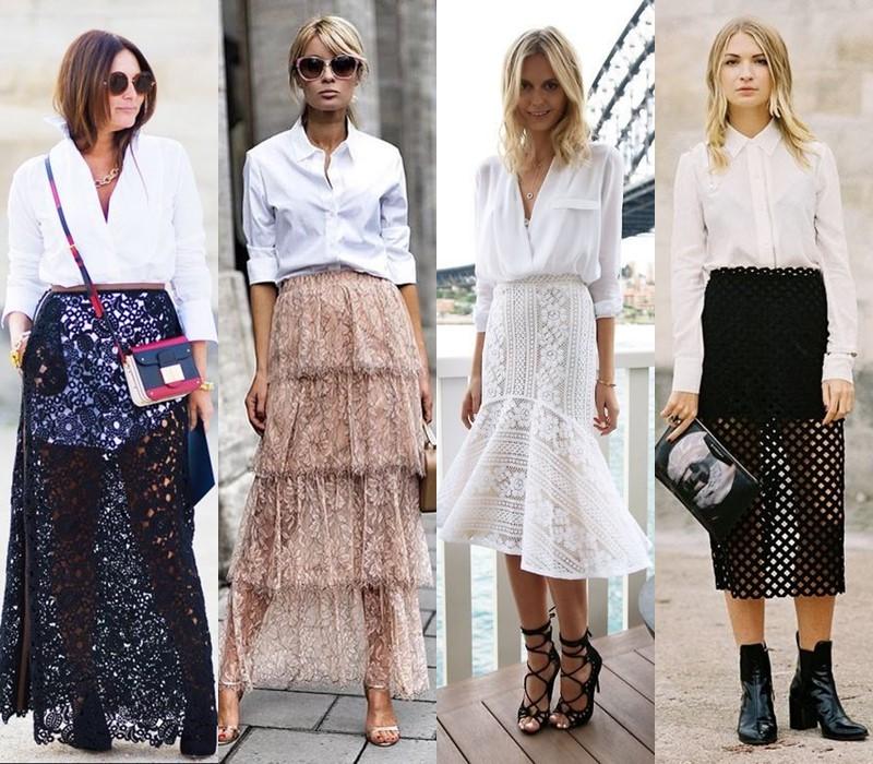 С чем стильно носить белую рубашку - с прозрачной или кружевной юбкой