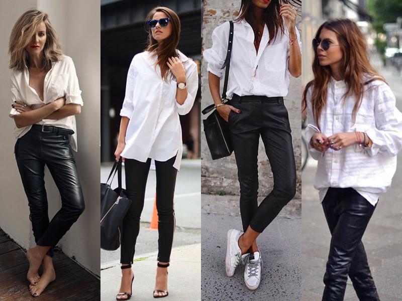 С чем стильно носить белую рубашку - с кожаными брюками