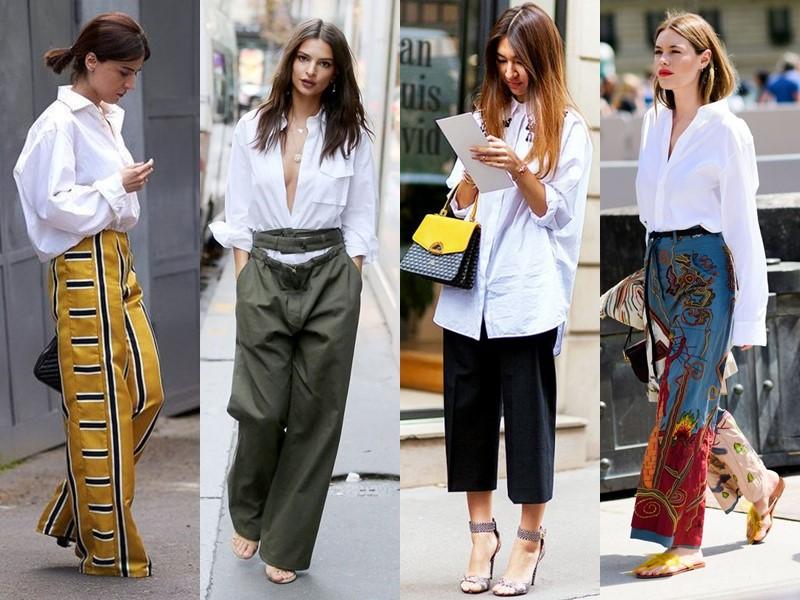 С чем стильно носить белую рубашку - со свободными мешковатыми брюками