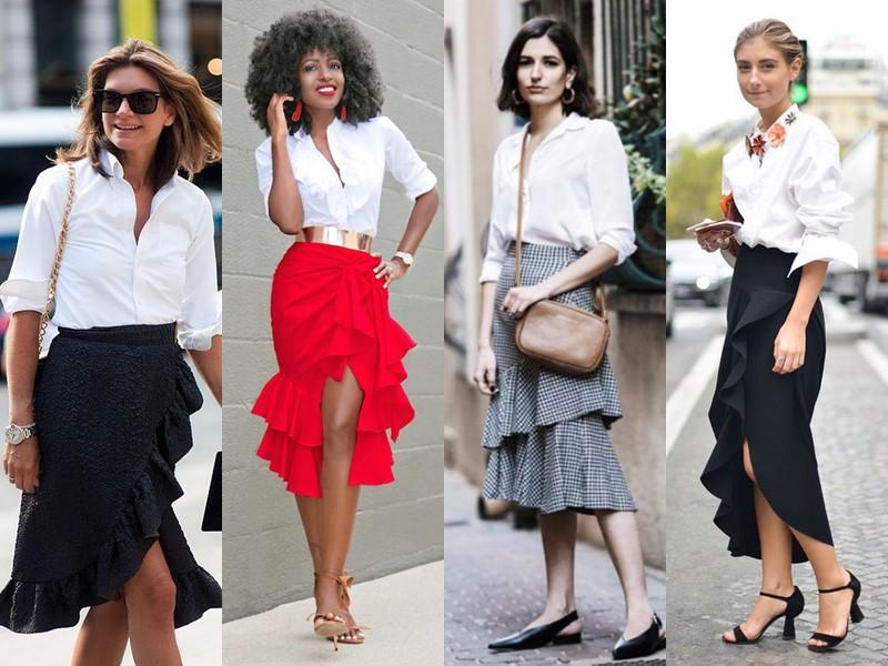 С чем стильно носить белую рубашку - с объёмной юбкой с ярусами или воланами