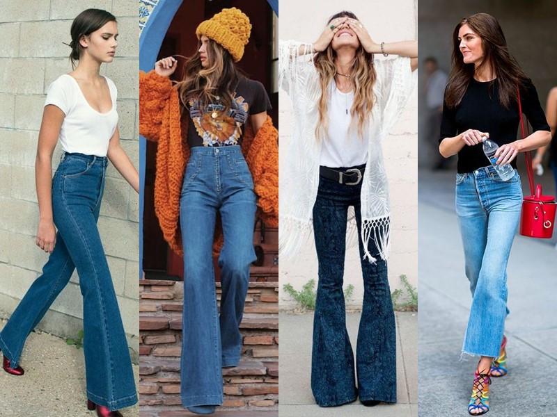 Популярные модели джинсов на все времена - Джинсы клёш в стиле 70-х