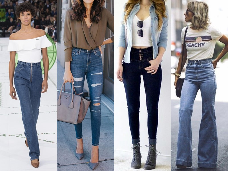 Популярные модели джинсов на все времена - Джинсы с завышенной талией