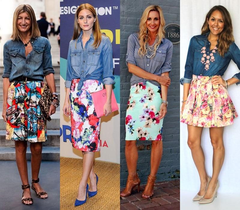 С чем носить цветочную юбку - Джинсовая рубашка