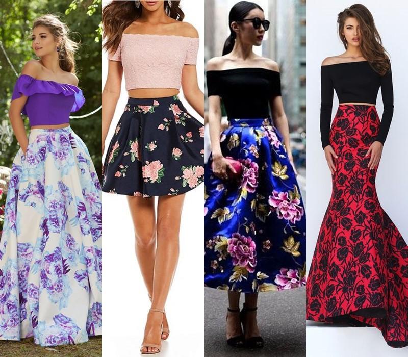 С чем носить цветочную юбку - Топ с открытыми плечами