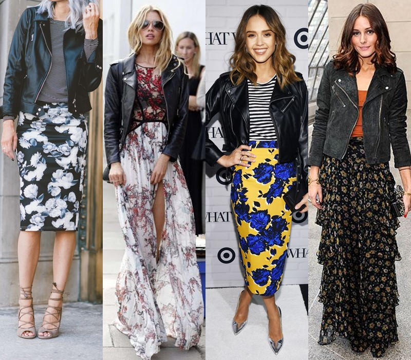 С чем носить цветочную юбку - Чёрная кожаная куртка