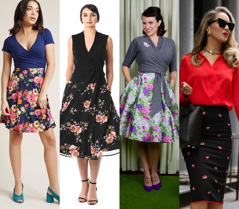С чем носить цветочную юбку - Однотонная блузка с запахом