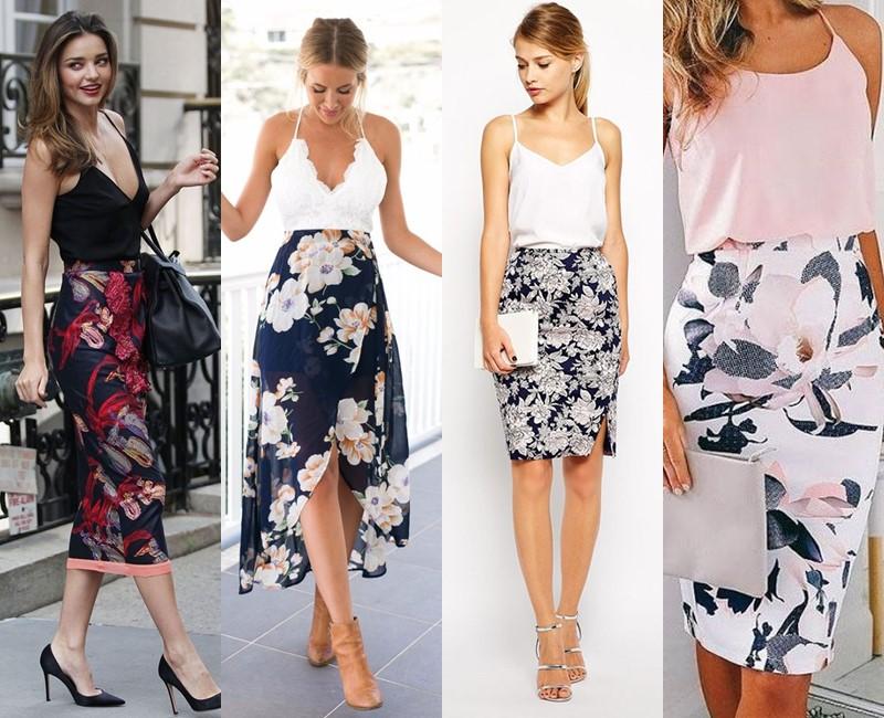 С чем носить цветочную юбку - Бельевой топ