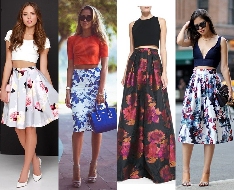 С чем носить цветочную юбку - Кроп-топ