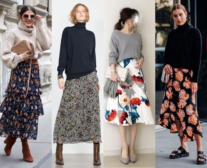 С чем носить цветочную юбку - Объёмный трикотажный свитер
