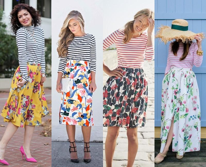 С чем носить цветочную юбку - Полосатый топ-тельняшка