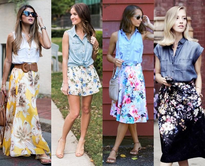 С чем носить цветочную юбку - Топ рубашечного кроя