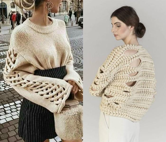 Ностальгический трикотаж: старомодные вязаные вещи - бежевые свитера с крупными дырками