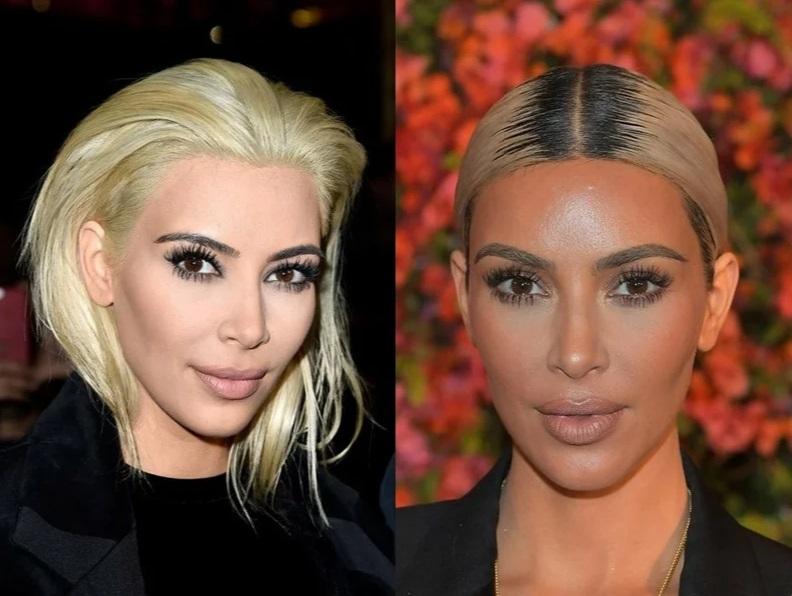 Отросшие корни у блондинок - Ким Кардашьян блонд корни