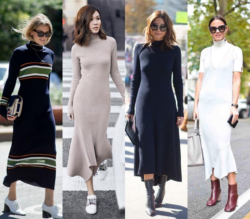 Стильный демисезон: модные платья на весну и осень - Платье-водолазка
