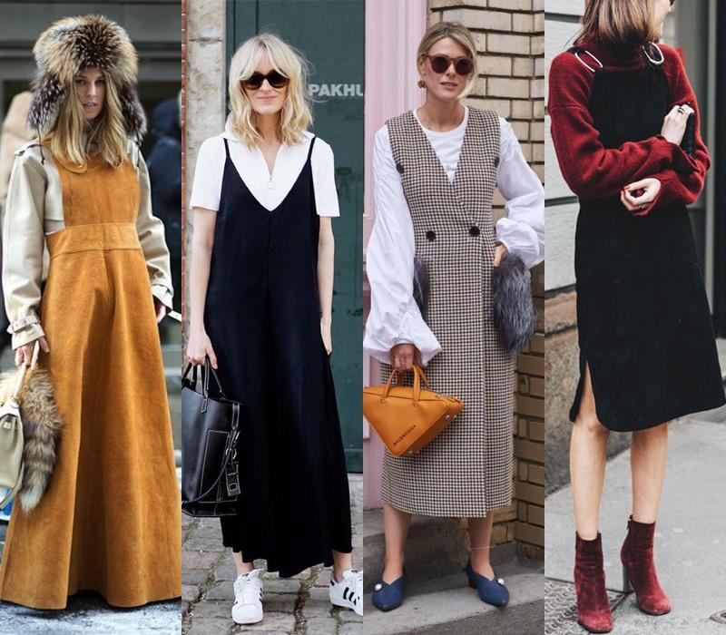 Стильный демисезон: модные платья на весну и осень - Платье-сарафан поверх свитера или водолазки