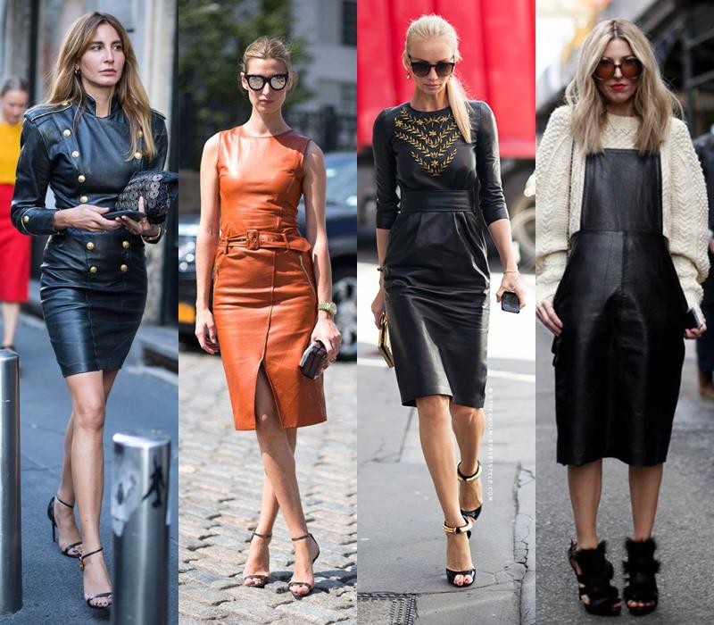 Стильный демисезон: модные платья на весну и осень - Кожаное платье
