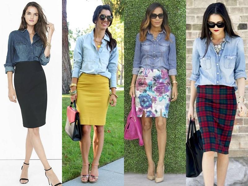 С чем носить юбку-карандаш - с джинсовой рубашкой