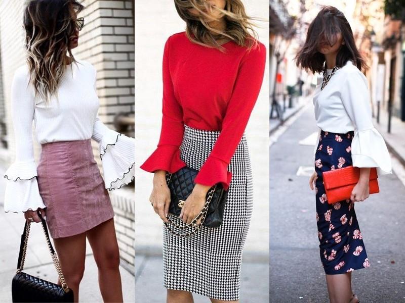 С чем носить юбку-карандаш - с блузкой с расклешёнными рукавами