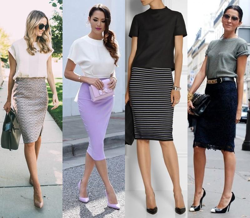 С чем носить юбку-карандаш - с минималистичным топом