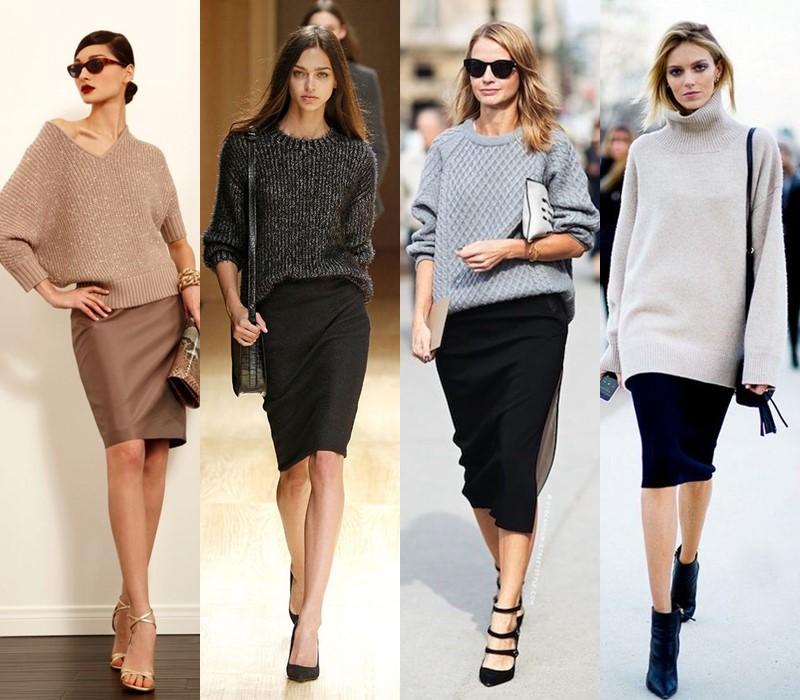 С чем носить юбку-карандаш - с трикотажным свитером