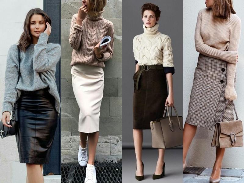 С чем носить юбку-карандаш - с вязаным свитером