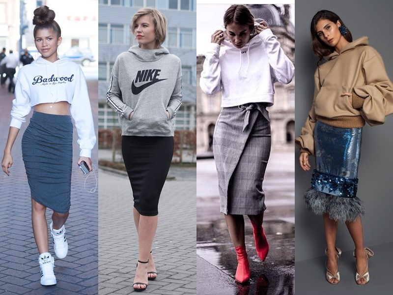 С чем носить юбку-карандаш - с молодёжным худи