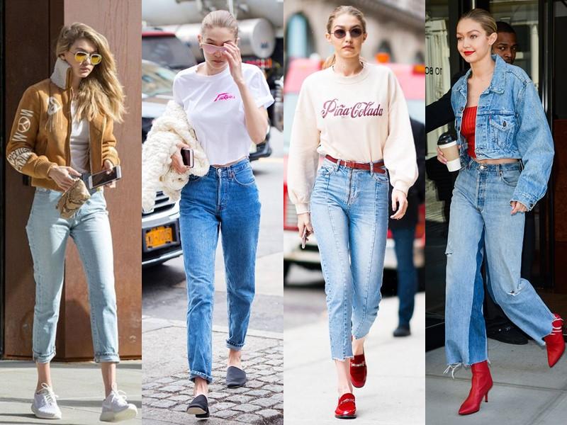 Стиль Джиджи Хадид - Укороченные джинсы с завышенной талией
