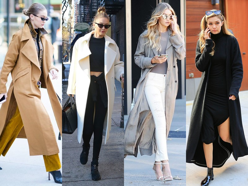 Стиль Джиджи Хадид - Длинные минималистичные пальто