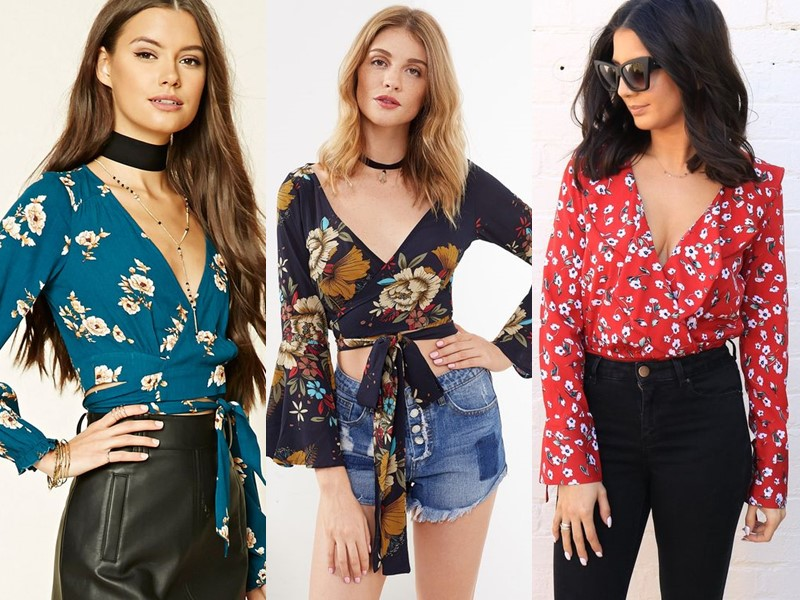 Стильные летние блузки - Цветочная блузка на запах
