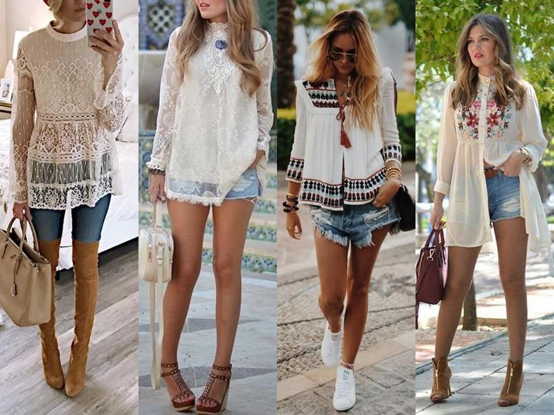 Стильные летние блузки - Туника в этническом стиле (лён и кружево)
