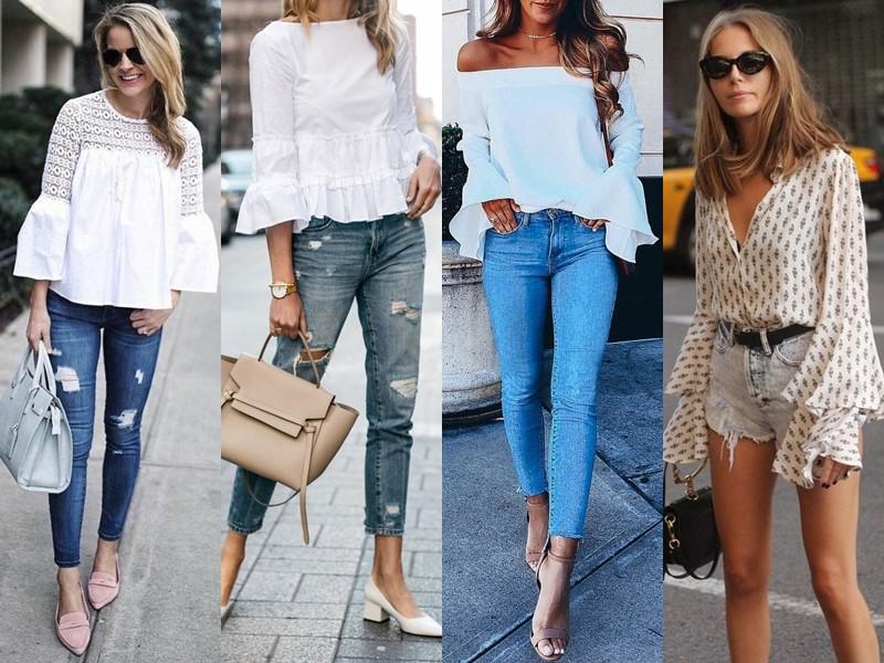 Стильные летние блузки - Блузка с расклешёнными рукавами