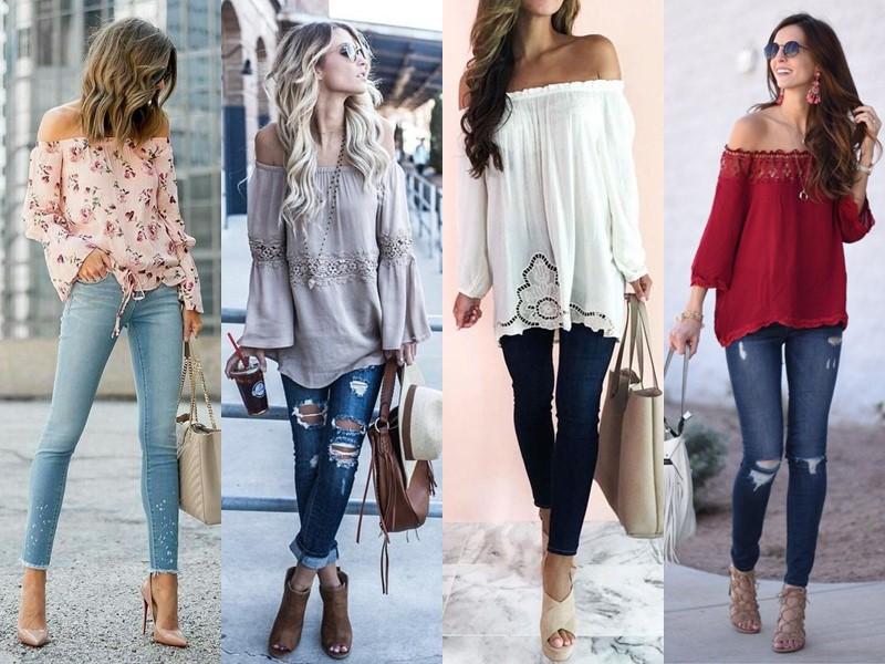 Стильные летние блузки - Блузка с открытыми плечами