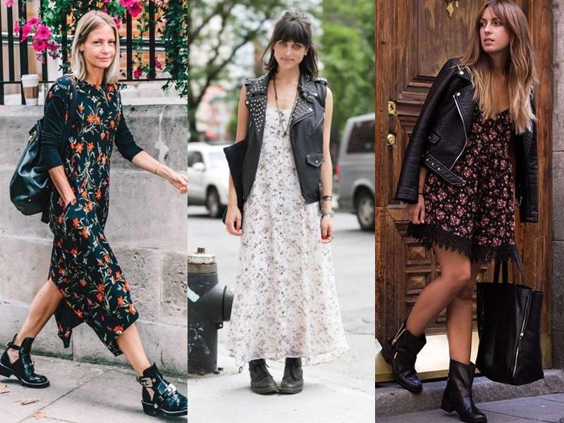Как носить цветочное платье - с тяжёлой обувью