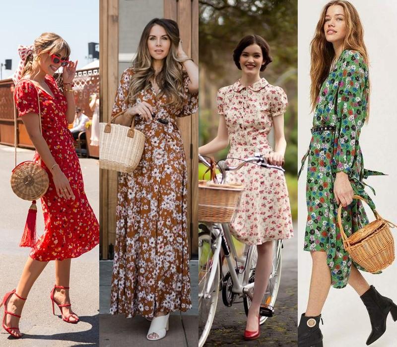 Как носить цветочное платье - Как носить цветочное платье - с плетёной корзинкой
