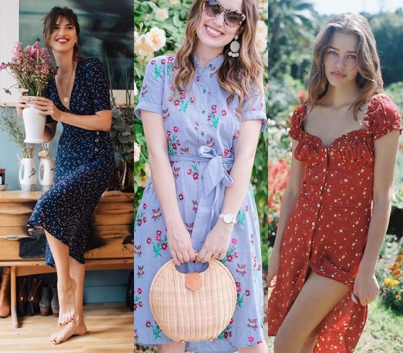 Как носить цветочное платье - с плетёной корзиной