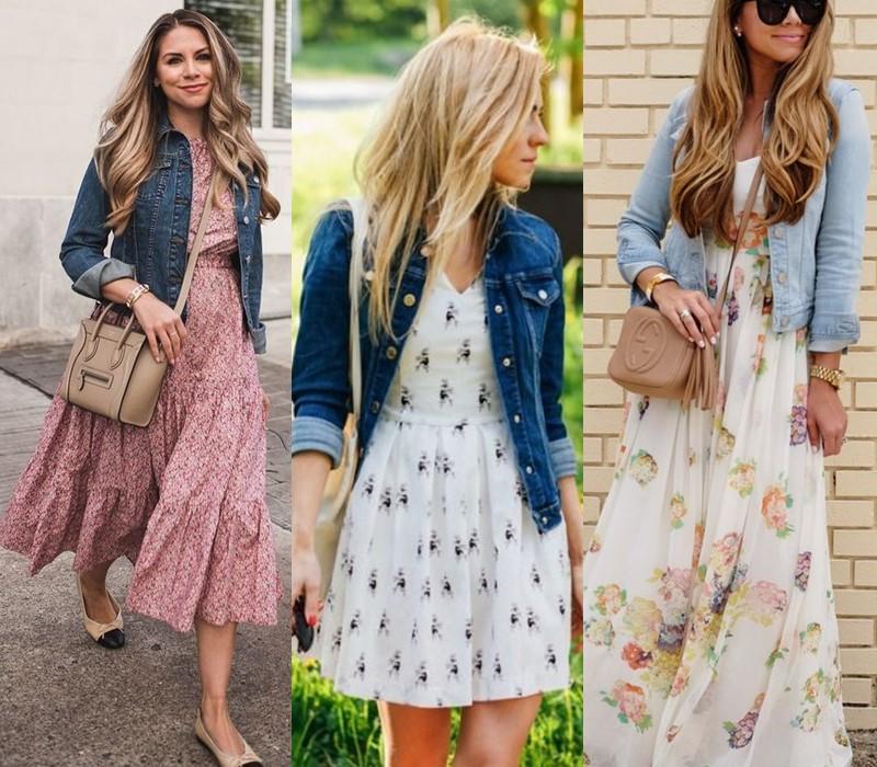Как носить цветочное платье - с джинсовкой