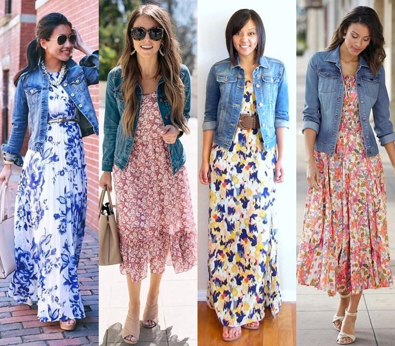Как носить цветочное платье - с джинсовой курткой
