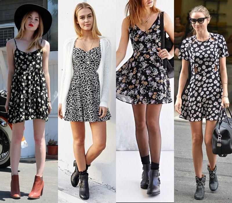Как носить цветочное платье - с грубой обувью