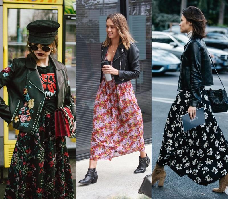 Как носить цветочное платье - с кожаной курткой