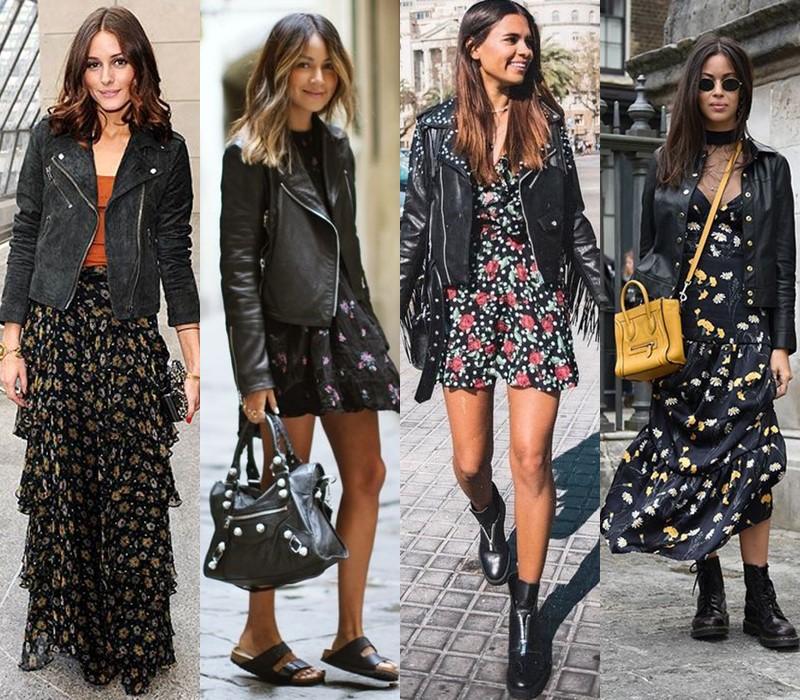 Как носить цветочное платье - с курткой-косухой