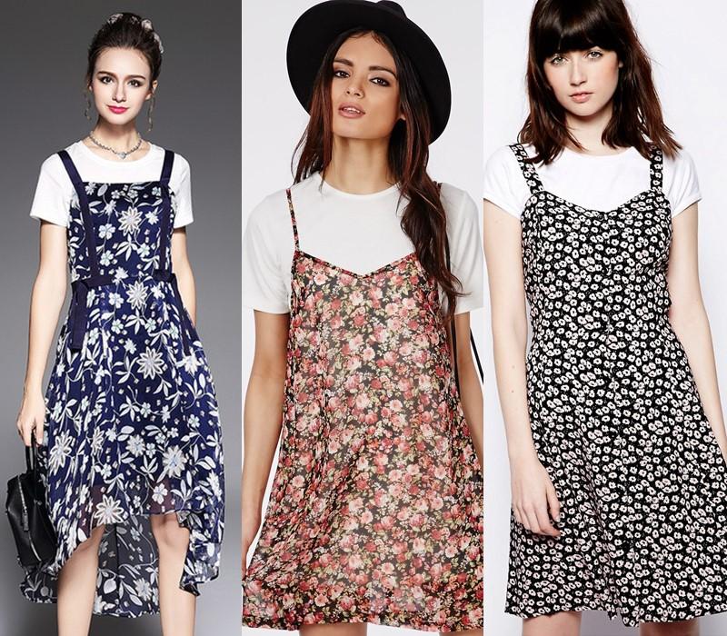Как носить цветочное платье - поверх футболки или водолазки