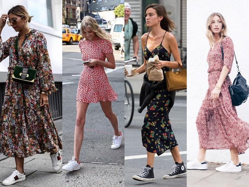 Как носить цветочное платье - с кедами