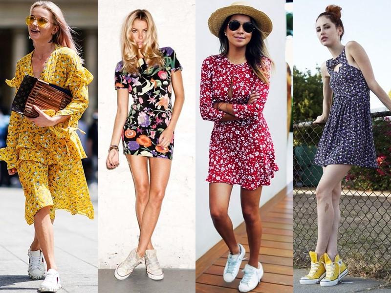 Как носить цветочное платье - с кедами и кроссовками