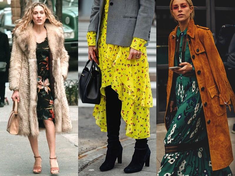 Как носить цветочное платье - с пальто или блейзером в мужском стиле