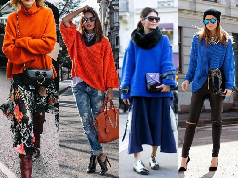 Стильные вещи осеннего гардероба - Синий или оранжевый свитер