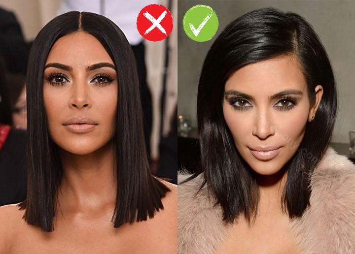 Звезды - прямой и косой или боковой пробор - Ким Кардашьян