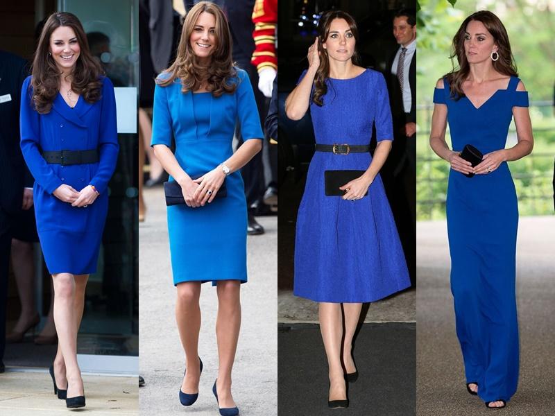 Цвета и оттенки платьев Кейт Миддлтон - яркие синие