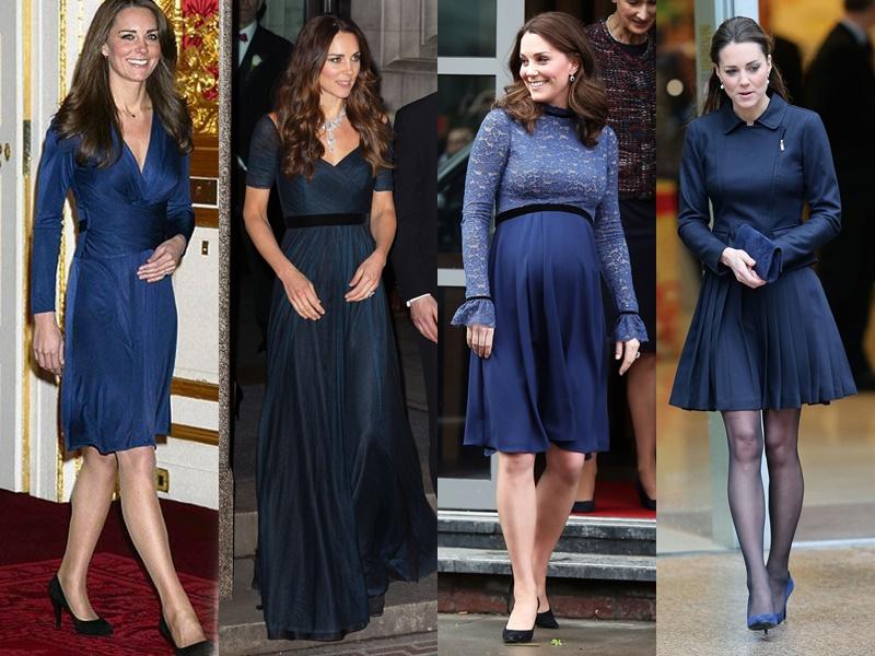 Цвета и оттенки платьев Кейт Миддлтон - тёмные синие