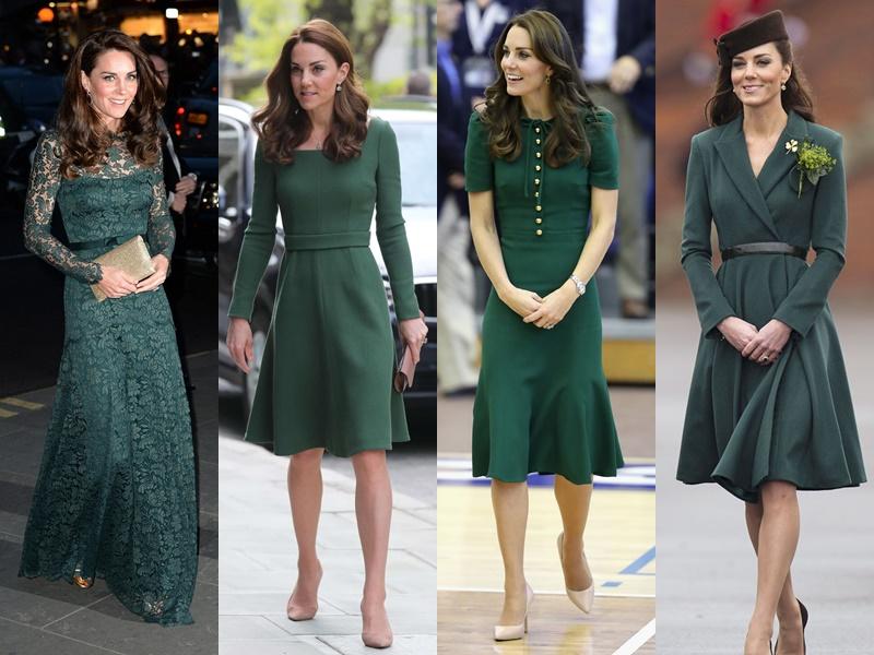 Цвета и оттенки платьев Кейт Миддлтон - тёмно-зеленые
