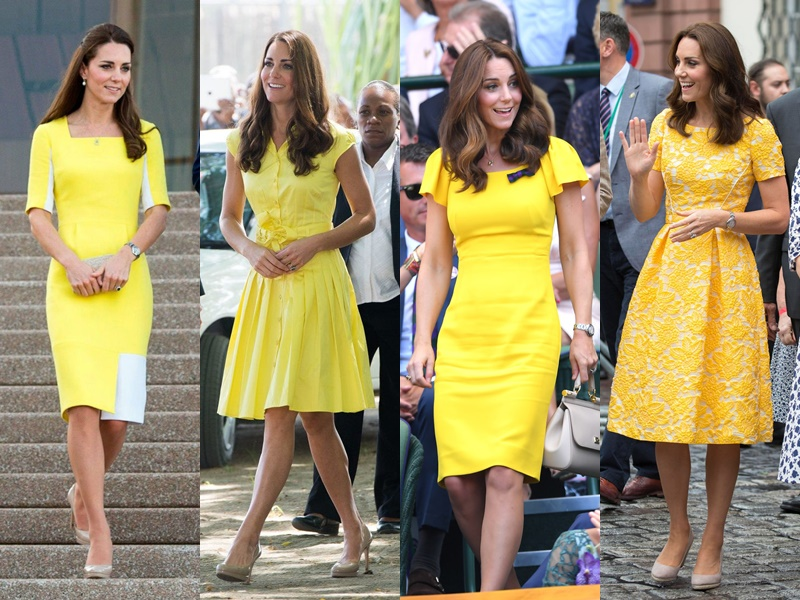 Цвета и оттенки платьев Кейт Миддлтон - желтые